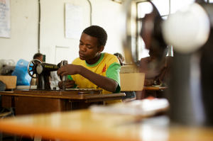 Students working after receiving vocational training.